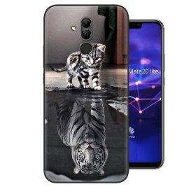 Funda Huawei Mate 20 Lite Gel Dibujo Gato reflejo