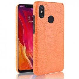 Carcasa Xiaomi Note 6 Cuero Estilo Croco Naranja