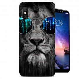 Funda Xiaomi Redmi Note 6 Gel Dibujo Leon Gafas