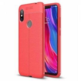 Funda Xiaomi Redmi Note 6 Pro Tpu Cuero 3D Roja