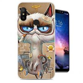 Funda Xiaomi Redmi Note 6 Gel Dibujo Gato Feo
