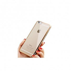 Funda Flexible Iphone 7 Gel con bordes Cromados Oro