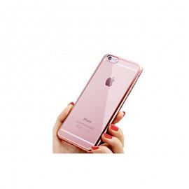 Funda Flexible Iphone 7 Gel con bordes Cromados Rosa