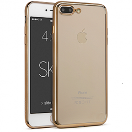 Funda Flexible Iphone 7 Plus Gel con bordes Cromados Oro