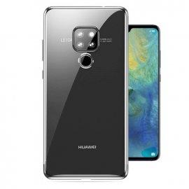 Funda Huawei Mate 20 Gel Transparente con bordes Plateados