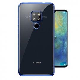 Funda Huawei Mate 20 Gel Transparente con bordes Azul