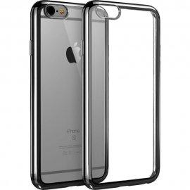 Funda Flexible Iphone 6 Gel con bordes Cromados Negro
