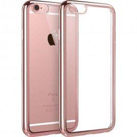 Funda Flexible Iphone 6S Plus Gel con bordes Cromados Rosa