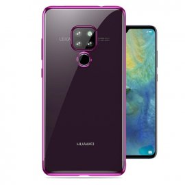 Funda Huawei Mate 20 Gel Transparente con bordes Rosa