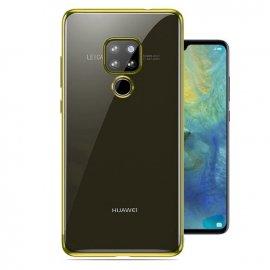 Funda Huawei Mate 20 Gel Transparente con bordes Dorado