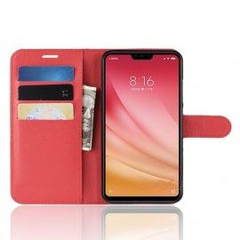 Funda Libro Xiaomi MI 8 Lite Soporte Roja