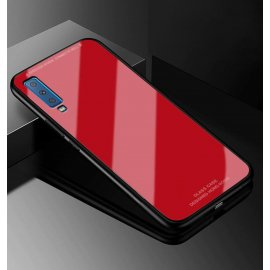 Funda Samsung Galaxy A7 2018 Tpu Roja Trasera Cristal