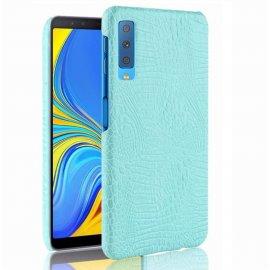 Carcasa Samsung Galaxy A7 2018 Cuero Estilo Croco Turquesa