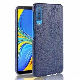 Carcasa Samsung Galaxy A7 2018 Cuero Estilo Croco Azul