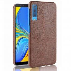 Carcasa Samsung Galaxy A7 2018 Cuero Estilo Croco Marron
