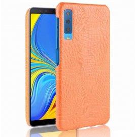 Carcasa Samsung Galaxy A7 2018 Cuero Estilo Croco Naranja