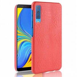 Carcasa Samsung Galaxy A7 2018 Cuero Estilo Croco Roja
