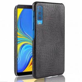 Carcasa Samsung Galaxy A7 2018 Cuero Estilo Croco Negra