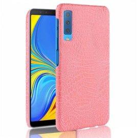 Carcasa Samsung Galaxy A7 2018 Cuero Estilo Croco Rosa