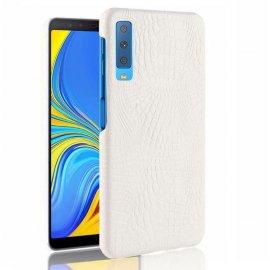 Carcasa Samsung Galaxy A7 2018 Cuero Estilo Croco Blanca