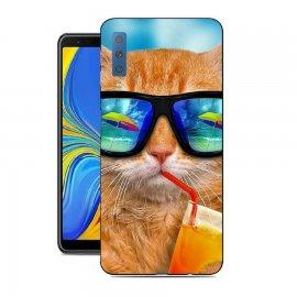 Funda Samsung Galaxy A7 2018 Gel Dibujo Gato Cool