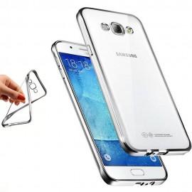 Funda Galaxy J5 2016 Gel Transparente con bordes Plateado