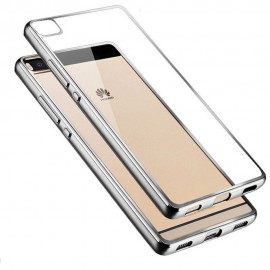 Funda Huawei P8 Gel Transparente con bordes Plateado