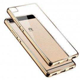 Funda Huawei P8 Gel Transparente con bordes Dorado