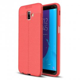 Funda Samsung Galaxy J6 Plus Cuero 3D Roja