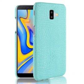 Carcasa Samsung Galaxy J6 Plus Cuero Estilo Croco Turquesa