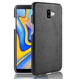 Carcasa Samsung Galaxy J6 Plus Cuero Estilo Croco Negra