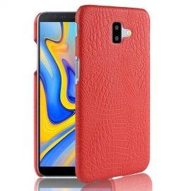 Carcasa Samsung Galaxy J6 Plus Cuero Estilo Croco Roja
