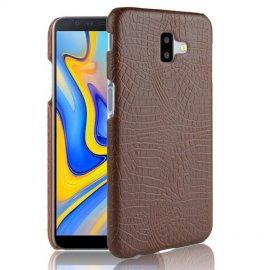 Carcasa Samsung Galaxy J6 Plus Cuero Estilo Croco Marron