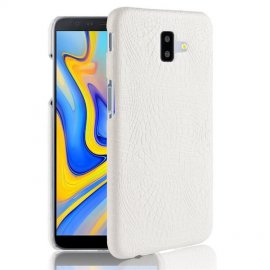 Carcasa Samsung Galaxy J6 Plus Cuero Estilo Croco Blanca