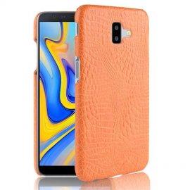 Carcasa Samsung Galaxy J6 Plus Cuero Estilo Croco Naranja