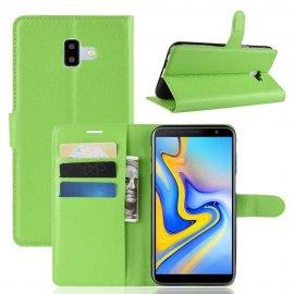 Funda Libro Samsung Galaxy J6 Plus cuero Soporte Verde