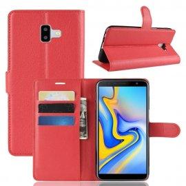 Funda Libro Samsung Galaxy J6 Plus cuero Soporte Rojo