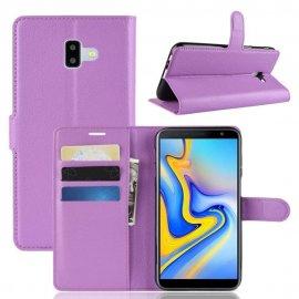 Funda Libro Samsung Galaxy J6 Plus cuero Soporte Lila