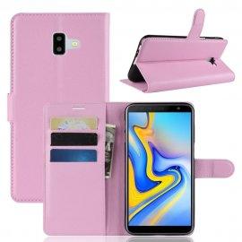 Funda Libro Samsung Galaxy J6 Plus cuero Soporte Rosa