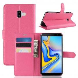 Funda Libro Samsung Galaxy J6 Plus cuero Soporte Fucsia