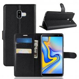 Funda Libro Samsung Galaxy J6 Plus cuero Soporte Negro