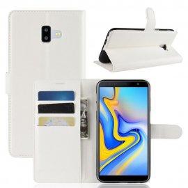 Funda Libro Samsung Galaxy J6 Plus cuero Soporte Blanco