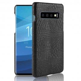Carcasa Samsung Galaxy S10 Cuero Estilo Croco Negra