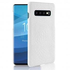 Carcasa Samsung Galaxy S10 Cuero Estilo Croco Blanca