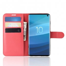 Funda Libro Samsung Galaxy S10 Soporte Roja