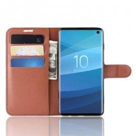 Funda Libro Samsung Galaxy S10 Soporte Marron