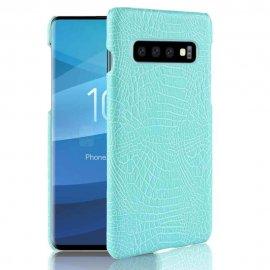 Carcasa Samsung Galaxy S10 Plus Cuero Estilo Croco Turquesa