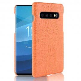 Carcasa Samsung Galaxy S10 Plus Cuero Estilo Croco Naranja