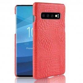 Carcasa Samsung Galaxy S10 Plus Cuero Estilo Croco Roja