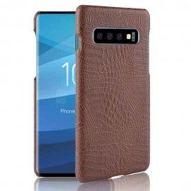 Carcasa Samsung Galaxy S10 Plus Cuero Estilo Croco Marron